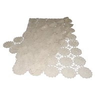 Hand Crotchet Lace Table Cloth Ecru Color Perfect Wedding Cake Table Cover