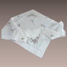 Silk Violets Society Embroidery on White Table Cloth
