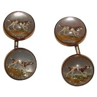Essex Rock Crystal Cuff Links with Pointer Dogs