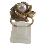 14 Kt Gold Rose in Bloom Ring with Pearl Center