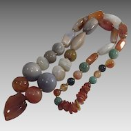 Multi Agate Bead Necklace with Heart Shaped Pendant