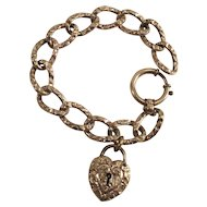 Victorian Chased Curb Link Bracelet with Original Heart Lock and Oversized O Ring Clasp