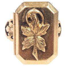Victorian Locket Ring Chased Work Band