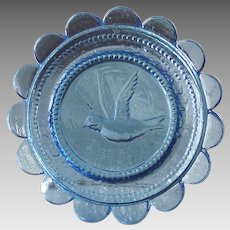 Azure Blue Sandwich Glass Cup Plate with Bird in Flight  Tiny for Doll House