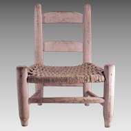 Children's Chair with a Woven Hickory Bark Seat and original Milk Paint