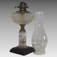 Aesthetic Movement Oil Lamp with Fans, Bamboo and Cherry Blossoms in Brown and White Transferware