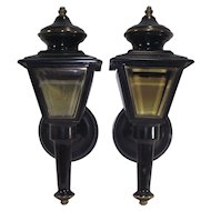 Black Tole Carriage House Sconce Lamps Pair of Two