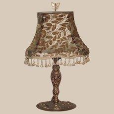 Art Nouveau Table Lamp Nouveau Lady with Original Cut Velvet Shade and Butterfly Finial