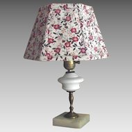 Vintage Table Lamp with Milk Glass Font and Marble Base