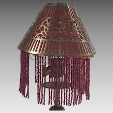 Candle Stick Lamp Brass Shade with Red Beaded Fringed Liner