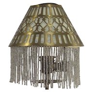 Candle Stick Lamp Brass Shade with Clear Beaded Fringed liner
