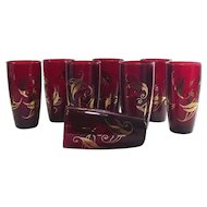 Vintage Ice Tea Tumblers Cranberry with Gold Leafing Eight Piece