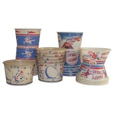 Mid Century Wax Coated Soda Fountain Ice Cream Cups