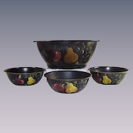 Mid Century Tole Ware Bowl with Three Matching Individual Bowls Hand Painted  Fruit