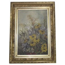 19c Victorian Oil Painting Floral Still Life in the Original Ornate Gilt Wood and Gesso Picture Frame