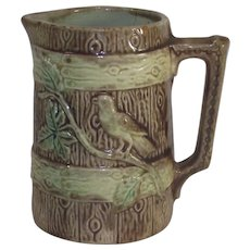 Majolica Bird On A Fence Pitcher