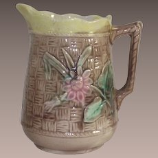 Majolica Basket Weave and Open Rose Milk Pitcher