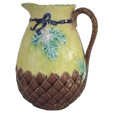 Majolica Milk Pitcher Forget Me Nots with Cobalt Ribbon