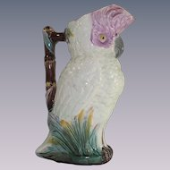 Majolica Figural Cockatoo Parrot Pitcher Stunning Piece