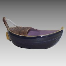 Majolica Spoon Warmer Figural Fishing Boat with Staple Repair