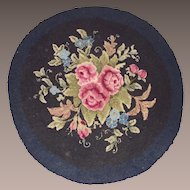 Round Hooked Rug Black Background Pink Roses and Morning Glories