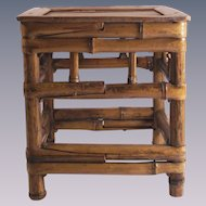 Vintage Bamboo Display Stand Small Square