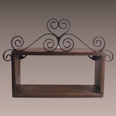 Vintage Walnut Wall Shelves with Iron Trimming Pair of Two Matching