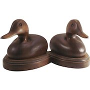 Vintage Hand Made Hard Wood Duck Book Ends with Glass Eyes