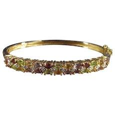 Vintage Multi Gemstone Hard Bangle Bracelet Sterling with Gold Wash