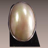 Vintage Mabe' Pearl Bezel Set Sterling