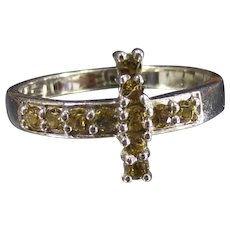 Christian Cross Ring  Sterling East West Design Yellow Stones