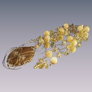 Gold Wire Work with Citrine and Tan Agate Necklace Handmade