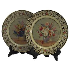 Pair of Daher Decorative Ware Flowers Tin Plates Holland