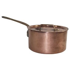 Vintage French Copper Sauce Pot with Original Lid   #12