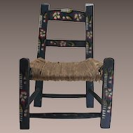 Vintage Mexican Child's Wood Blue Chair Hand Painted