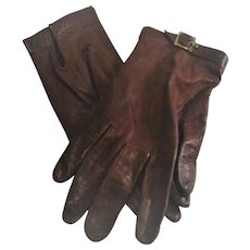 Etienne Aigner Leather Gloves Size Six and One Half