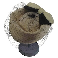 White Felted Wool Ladies Bollman Hat with Black Netting