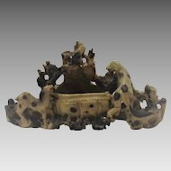 Asian Soap Stone Carving Dogs Bird and Brush Wash Pot