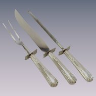 Sterling Silver Mid Century Three Piece Carving Set