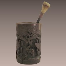 Carved Asian Bamboo Brush Pot
