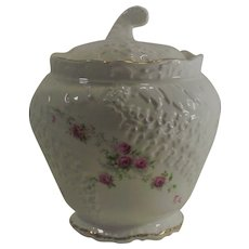 Limoges Biscuit Jar with Pink Roses and Foxglove