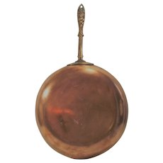 """Vintage """"French"""" Copper Saute Pan with Ornate Fish Handle"""