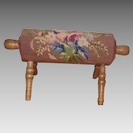Vintage Maple Rolling Pin Foot Rest with Needlepoint