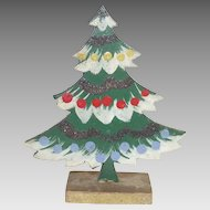 Vintage German Wood Painted and Mica Decorated Christmas Tree