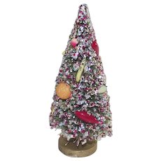 Vintage Bottle Brush Tree with Glitter and Fruit