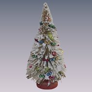 Vintage Flocked Bottle Brush Tree with Glass Garland and Ornaments 1950s