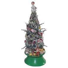 Vintage Musical Bottle Brush Christmas Tree HIGHLY Decorated