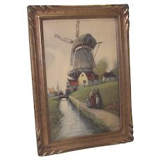 Art Nouveau Picture Frame with Windmill Scene Print