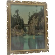 Vintage Gessoe Wooden Frame with Covered Train Bridge Winooski Vermont Photo