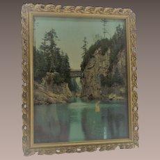 Vintage Gessoe Wooden Frame with Covered Train Bridge Winooski Vermont Photo